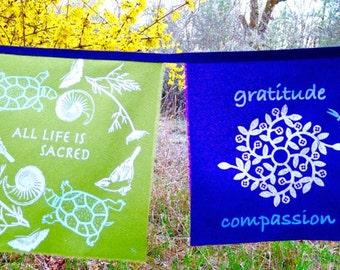 Gratitude Silk Prayer Flags 9x9inch banner 8 set