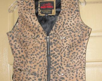 Easy Riders Leather Animal Print Vest Zipper Bodice Small/Medium 80s 90s  4 Zipper Pockets Biker