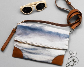 Skyline Clutch - Printed Cotton Fold Over Clutch with Leather