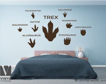 Dinosaur tracks / footprints pack - Trex raptor triceratops velociraptor stegosaurus gallimimus for adventure rooms 2319