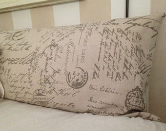 Headboard pillow/Long Body Pillow /French Writing pillow cover/ cotton/Linen Natural color/Taupe