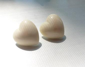 1980s White Heart Earrings