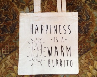 Vinyl Happiness Burrito Canvas Tote Bag