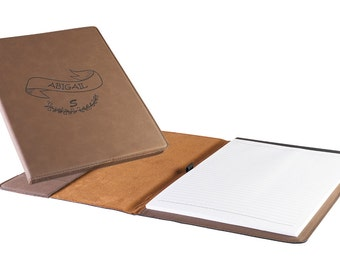 Personalized Faux Leather Mini Portfolio with Notepad - Laser Etched Professional Portfolio - Graduation Gift - Corporate Logo Engraved Gift