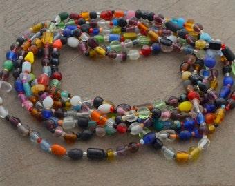 Indian Bead Necklace - Layering Necklace - Boho Bead Necklace - Colorful Glass Bead Necklace