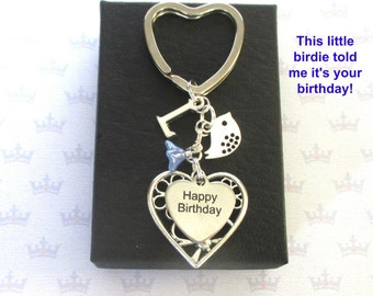 Personalised Happy Birthday keyring - Little bird keyring - Happy Birthday keychain - Birthday gift for Friend - Bird keyring - Etsy UK