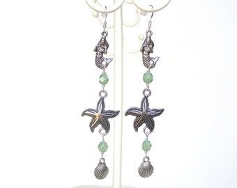 50% OFF SUMMER SALE - Long mermaid earrings with starfish and clam shell - Mermaid jewelry - Beach jewellery - Starfish earrings