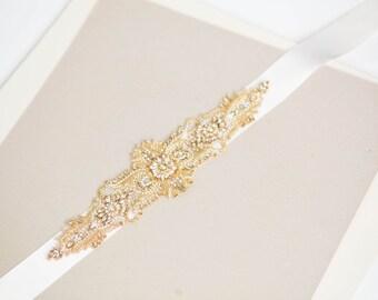 Art Deco bridal sash in gold, Bridal belt, wedding sashes, bridal sashes, rhinestone sash- S53 Gold