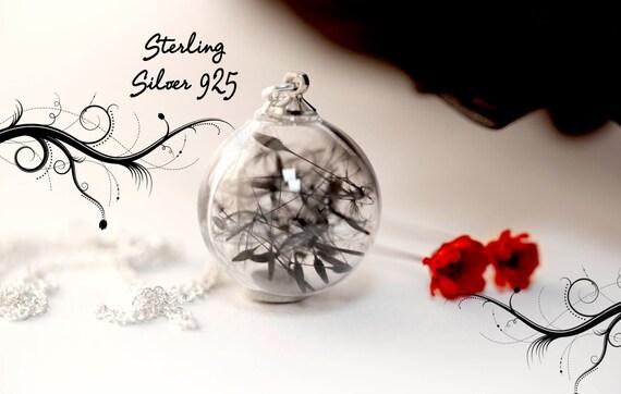 Dandelion black Gothic necklace - sterling silver 925 - Make a wish- glass orb - real flowers - tim burton - dandelion seeds