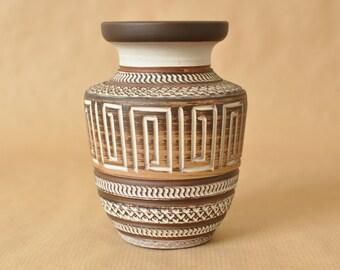 Terracotta Sgraffito vase - West German Pottery - Sawa - Eiwa - Wekara - handmade