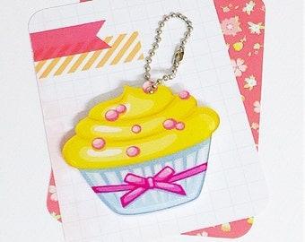 Lemon Meringue Cupcake Acrylic Keychain