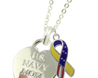 Sterling Silver Navy Mom Necklace YR (Free Shipping)