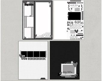 Sample Pack 34 - 8.5x11 Digital Scrapbooking Templates