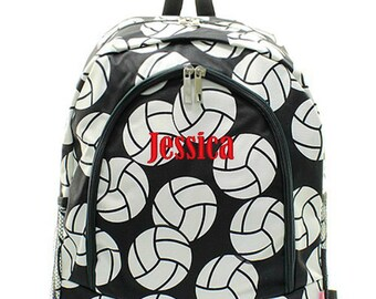 Personalized Volleyabll Backpack Monogrammed Bookbag Black White Girl Large Canvas Kids Tote School Bag Embroidered Monogram Name