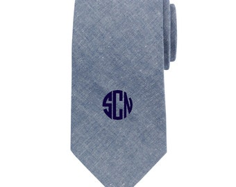 Personalized Chambray Mens Neck Tie Embroidered Monogram