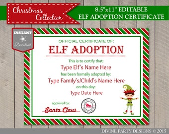INSTANT DOWNLOAD Editable Elf Adoption Certificate/ Add Family Name & Elf's Name / You Type / Christmas Shop / Item #3053