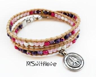 Leather wrap bracelet, Peace sing bracelet, Beaded wrap bracelet, Pink bracelet, Woman jewelry, Gift for her