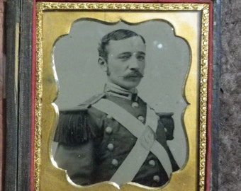 AMBRO EARLY MILITIA  oFFICER 6TH pLATE cASE tINTYPE sOLDIER pHOTO cIVIL wAR