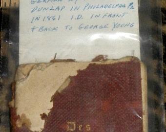 CIVIL WAR SOLDIER hANDBOOK pRINTED iN gERMAN iN philadelphia bY jAMES dUNLAP fOR gEORGE yOUNG