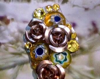 Rose and Yellow Crystal Bindi