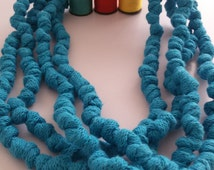 Knotted fabric t-shirt necklace  soft huge scarf Turquoise
