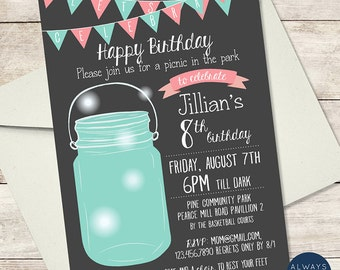 Picnic in the Park - Mason Jar Birthday Invitation - Fireflies - Bunting Banner - Printable Invite - Digital