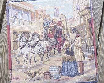 Vintage French Needlepoint Tapestry Victorian  Romantic Street Scene, Horse and Carriage, Travel  unmounted 10 x 9 3/4 Made in France