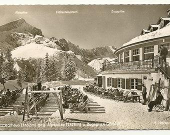 German Alps mailed from Garmisch-Partenkirchen, Germany  WinterSportPlatz  1940's Postcard