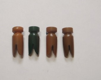 4 Vintage Celluloid  Clothespins 1930s Set of 4