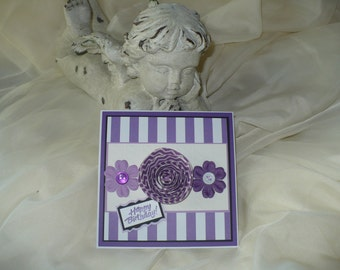 Handmade Floral Happy Birthday Card Purple / White