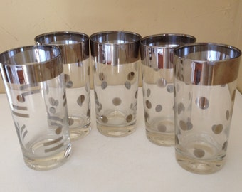 Vintage (5 PC) Dorothy Thorpe Silver Band Polka Dot Mad Man Style Tumbler  Glasses