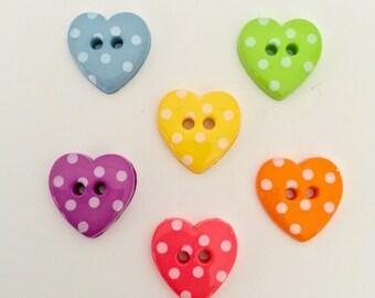 10 x 15mm Polka Dot Spot Heart Buttons - choose your colour