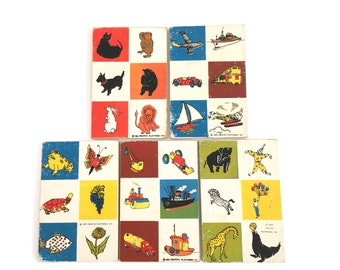 Vintage Preschool Picture Cards Wooden Learning Plaques Terrific Graphics 1959 Set of 11 Wooden Checkerboard Early Childhood