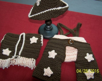 Baby Chaps, vest, cowboy hat, and diaper cover, photo prop