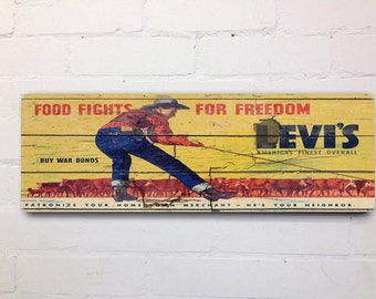 Vintage Syle Levis Workwear War Bonds Wall Sign