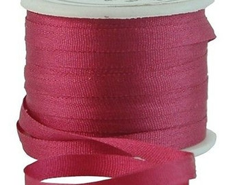 11 Yds (10 M) Embroidery Silk Ribbon 100% Silk 4mm - Burgundy - By Threadart