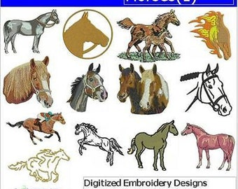 Embroidery Design CD - Horses(1) - 13 Designs - 9 Formats - Threadart