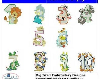 Embroidery Design CD - Numbers(1) - 10 Designs - 9 Formats - Threadart