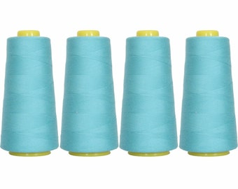 4 Big Cones Turquoise Serger Sewing Thread 2750 Yd Tex 27 40s2 - Threadart