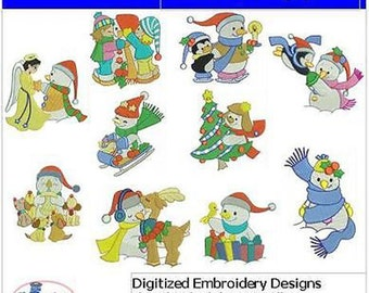 Embroidery Design CD - Snowmen(2) - 10 Designs - 9 Formats - Threadart