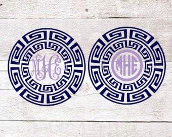 Greek Border Vine or Circle Monogram | Greek Decal | Greek Car Decal | Car Monogram | Yeti Monogram
