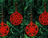 Christmas Tree Decorations Set of 4 Snowflakes