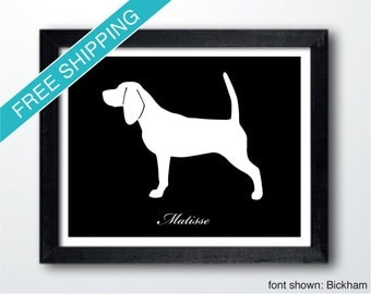 Personalized Beagle Silhouette Print with Custom Name (version 1)
