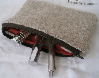 SALE - Handmade Recycled Oatmeal Tweed Pouch