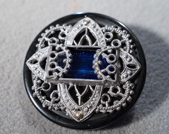 Vintage Detailed Bakelite Silver Tone Rectangle Faceted Cobalt Blue Glass Stone Fancy Etched Scrolled Filigree Jeweled Button **RL
