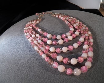Vintage West Germany 5 Strand Faceted Heavy Glass Round Shades Of Pink Bead 25 Inch Necklace Jewelry **RL