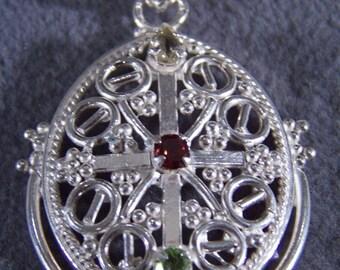 Vintage Sterling Silver Peridot Garnet Golden Citrine Bold Fancy Scrolled Etched Filigree Pendant Charm W    **RL