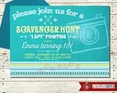 Scavenger Hunt Birthday Invitation | I Spy | Card | Invite | Oh Snap | Digital | Print file | Photo Scavenger | Party | Tween | Teen