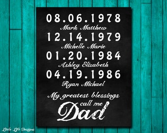 My Greatest Blessings Call Me Dad. Father's Day Gift. Gift Husband. Personalized Dad Father's Day Gift. Dad Birthday Gift. Important Dates.