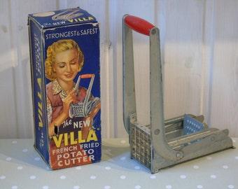 "1950s ""Villa"" french Fried Potato Cutter in its Original Box - Alluminium Chip Cutter - Vintage Kitchenware - Collectable Kitchenalia -"
